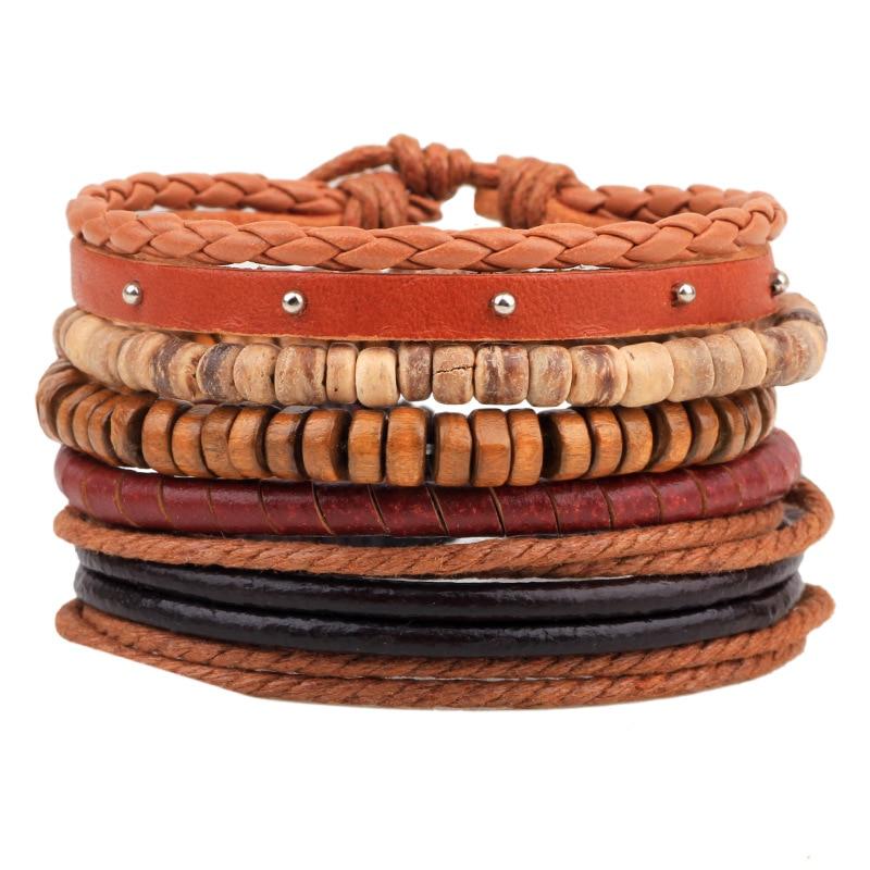 Brown Punk 5 Pcs/set Beads Charm Handmade Woven Men Leather Bracelets Women Vintage Bangle Male Homme Men Jewelry Accessories