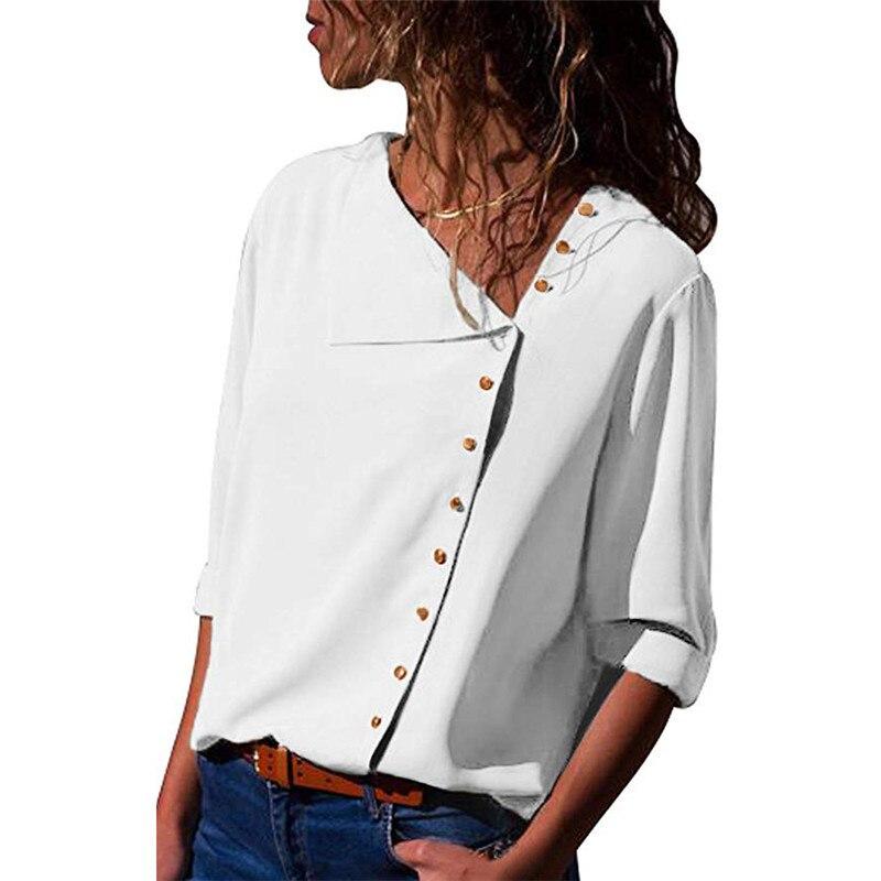 Primavera outono blusa botões irregulares camisa skew collar blusas de manga comprida chiffon camisa plus size blusas e blusas femininas