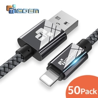 Usb-кабель для iPhone 8 X TIEGEM 2A, кабель для быстрой зарядки и передачи данных для iPhone 5 6 6s 7 Plus, мобильный телефон, 50 шт. в упаковке