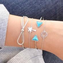 Boho Women Bowknot  DreamCatcher Coconut Tree Chain Opening Multilayer Bracelet Charm Lady Jewelry Gift
