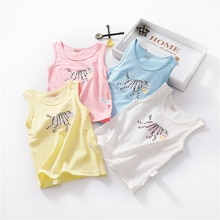 2019 neue Sommer Kinder Baumwolle T-shirt Cartoon Zebra Muster Baby Weste Jungen Mädchen Hemd Kleinkind Mädchen Jungen Shirts Dünne Kleidung
