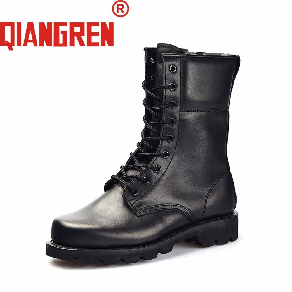 QIANGREN-أحذية عسكرية للرجال ، جلد طبيعي ، صوف ، مطاط ، أسود ، للثلج في الهواء الطلق ، أحذية تكتيكية عسكرية ، جلد البقر