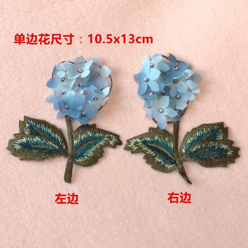 Parches de cuentas de diamantes de imitación de flor de Gasa azul en 3D, parches para coser ropa, parches termoadhesivos para ropa