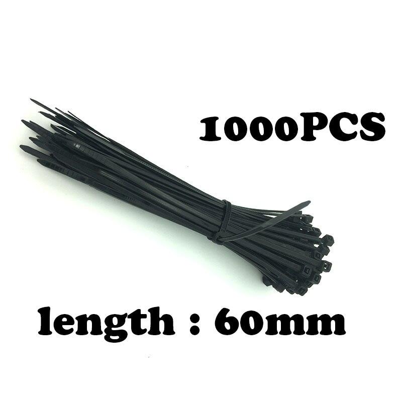 1000 Stks/pak 3*60mm breedte 2mm Zwarte Kleur Fabriek Standaard zelfsluitende Plastic Nylon Kabelbinders, Wire Zip Tie Loop Plastic