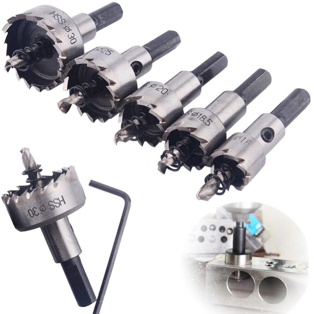 Juego de Brocas HSS de alta calidad de 5 uds., brocas de perforación de aleación de Metal y acero inoxidable de 16-30mm, para destornillador