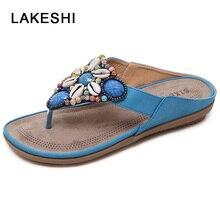 2019 nouvelles sandales femmes tongs femmes chaussures femme été plage sandales coquille bohème strass pantoufles pince pieds chaussures