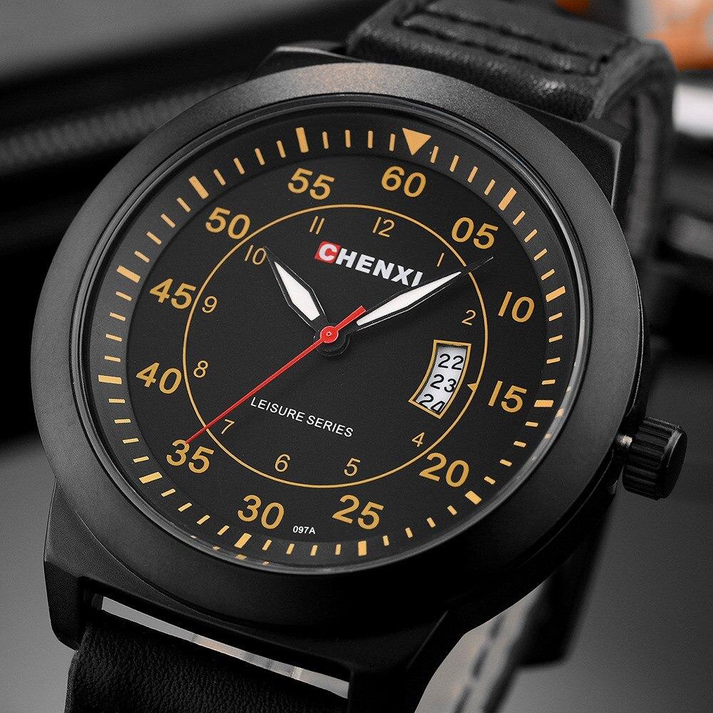 Мужские кварцевые часы CHENXI, повседневные деловые часы с кожаным ремешком, водонепроницаемые наручные часы в стиле ретро, подарок для мужчин
