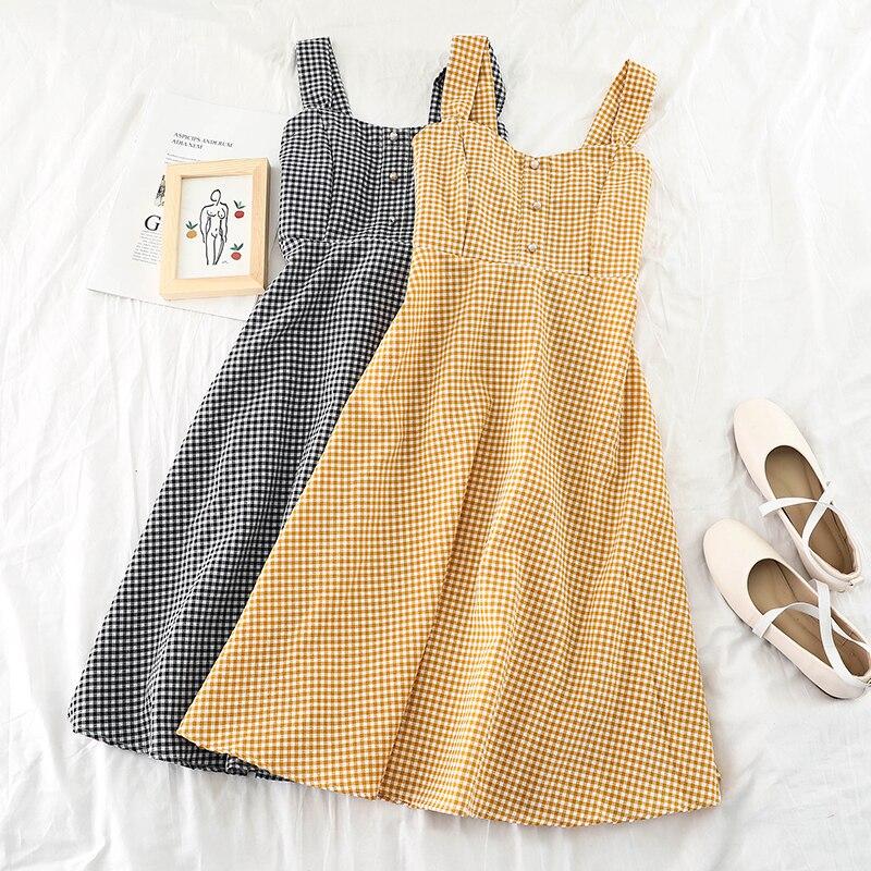 Singrain vintage xadrez feminino vestido longo casual a line elástico midi vestido estilo coreano elegante verão sem mangas cinta de verão