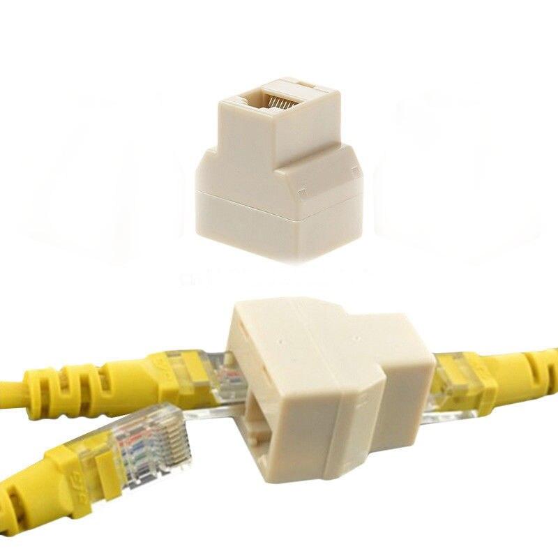 Lote Wholsale 10pcs Banggood LAN Cabo de Rede Ethernet RJ45 1 Em 2 Out Conector Fêmea Splitter Adaptador Duplo Plug