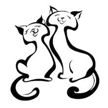 14.6cm*15.7cm Cute Cat Animal Car Sticker Decor Vinyl Decals Car-Styling Black/Silver S3-5825