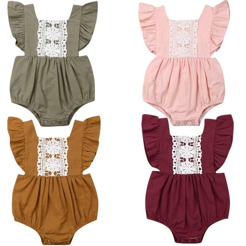 Детская однотонная летняя одежда для маленьких девочек; Кружевной комбинезон с открытой спиной и пуговицами; Комбинезон; Одежда для малышей