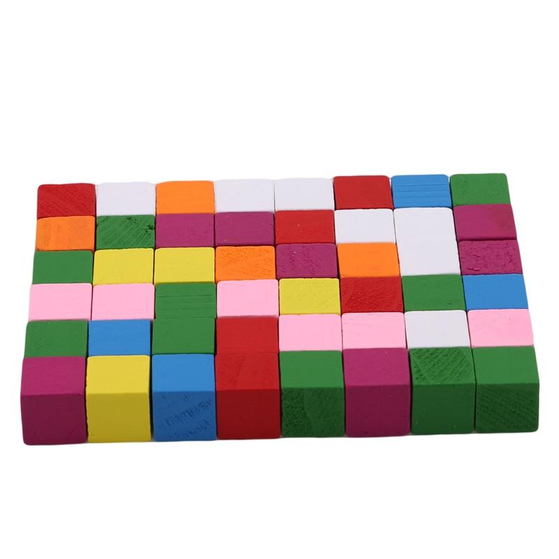 2cm niños bloques de construcción de madera cuadrada herramienta de enseñanza de matemáticas de juguete colorido