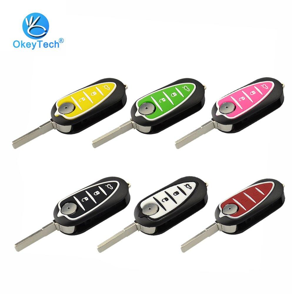 OkeyTech für Alfa 3 Taste Flip Folding Remote-Car Key Shell Hülle für Alfa Romeo 159 Mito Giulietta GTA uncut Blank Klinge