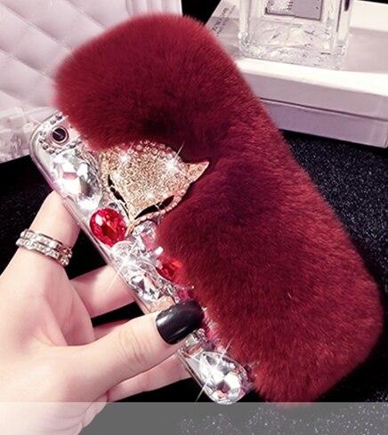 Funda dura de piel de conejo Real Diamante de imitación de lujo para Huawei Honor8 9 10 20 Lite 7X 8X Nova2 3 4 5 pro bling case