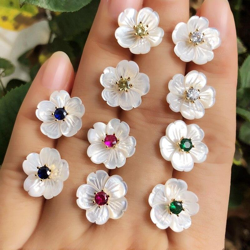 Flor pequena brincos de pérola natural concha redonda colorido cristal zircônia cúbica pedra feminino ouro cor kpop brinco jóias