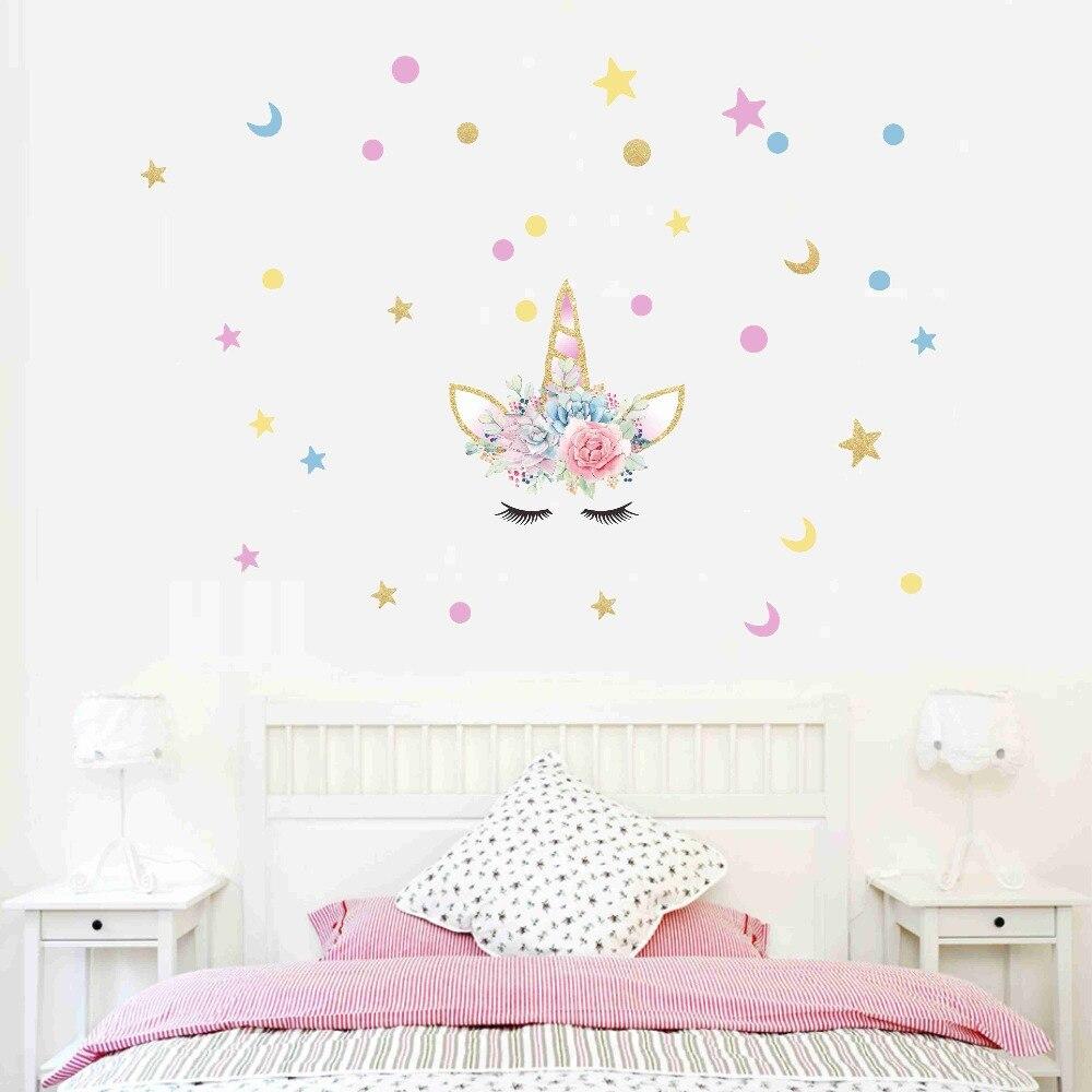 Unicornio con flores suculentas pegatinas coloridas para pared estrellas Luna calcomanía a lunares decoración para casa niños habitación murales arte