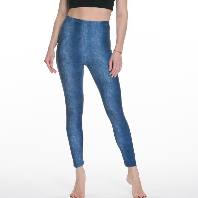 Las mujeres leggings tejano de imitación cintura usando Delgado elástico de moda
