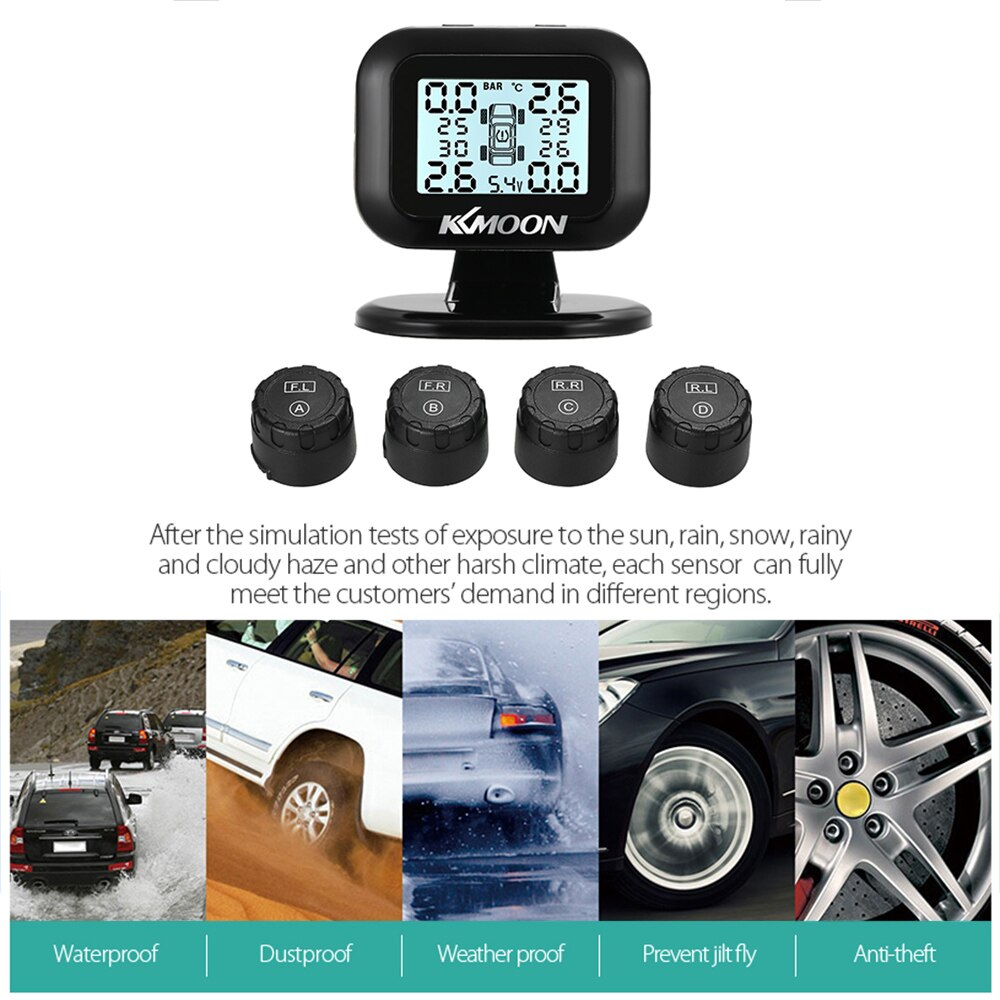 Monitor de alarma de presión de neumáticos KKmoon Solar TPMS para coche, pantalla inteligente de advertencia de temperatura, ahorro de combustible con 4 sensores tpms