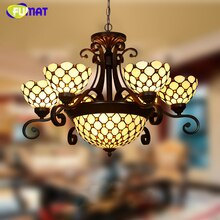 FUMAT vitrail lustre style européen classique lumière salon hôtel verre Art luminaires rideau perles lustres