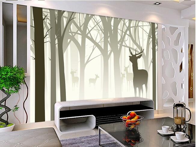 La costumbre de papel de parede 3 d nostálgico mano abstracta pintado árbol alce silueta sofá de la sala de pared de TV pared del dormitorio de papel