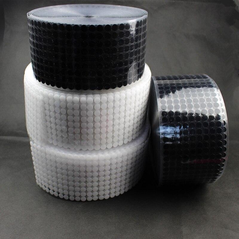 200 pares negro/blanco 10mm DIY autoadhesivo gancho y cinta de lazo puntos de fijación cinta de coser cable velcr para colgar fotos