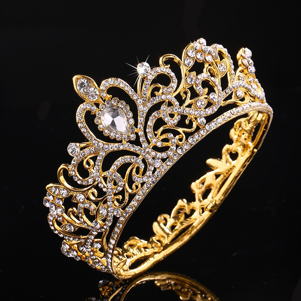 KMVEXO, Tiaras redondas completas de cristal con diamantes de imitación para boda, para el cabello Accesorios nupciales, corona de niños para decoración de pasteles, Regalo de graduación para fiestas, festivales