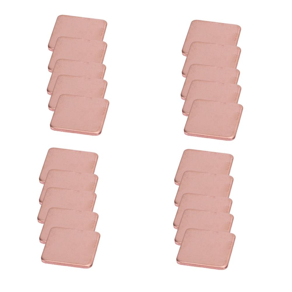 20pcs/lot 15x15mm 0.3mm to 2mm DIY Copper Shim Thermal Pad Heatsink Heat Sink Sheet For Laptop GPU CPU VGA Chip RAM Cooling