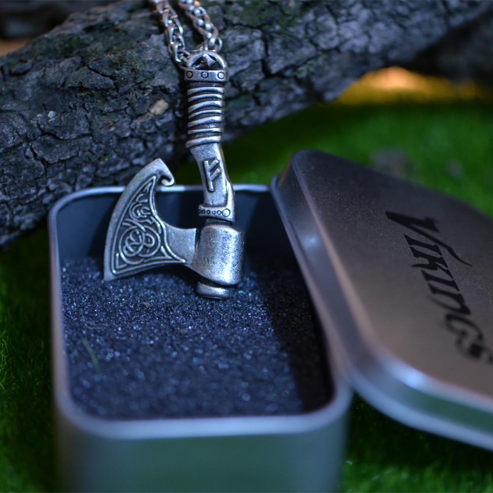 1pcs Langhong Nordic Vikings Necklace The Fehu Feoh Fe Rune Axe Amulet pendant Necklace Norse Jewelr