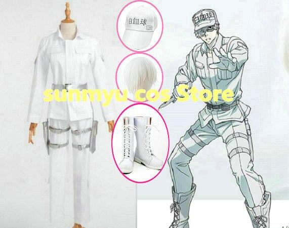 ¡Envío gratis! células en el trabajo uniforme de leacocitos con gorra Hataraku Saibou Célula de sangre blanca Cosplay disfraz, tamaño personalizado Halloween