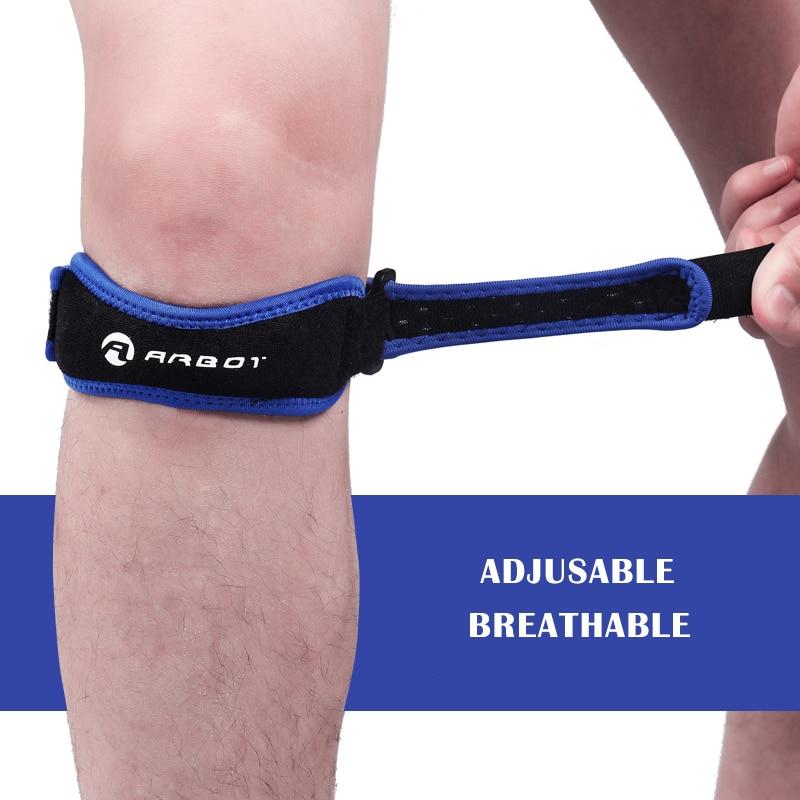 1 Piece Knee Patellar Tendon Knee Support Strape Brace Adjustable Shock Absorption Compression Knee Pad Sleeve for Basketball