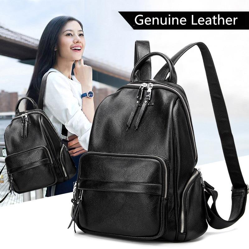 Женские рюкзаки из натуральной кожи, стильные модные однотонные школьные ранцы для девочек-подростков