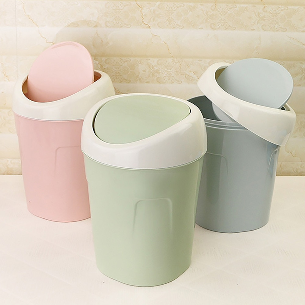 Mini Small Waste Bin Desktop Garbage Basket Home Table Plastic Office Supplies Trash Can Dustbin Sundries Barrel Box  #15