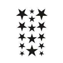 Wyuen nouveau Design autocollant de tatouage temporaire étanche pour adultes enfants Art du corps étoiles à cinq branches faux Tatoo pour homme G-014