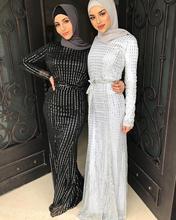 Élégant musulman paillettes Maxi robe perles Abaya Cardigan femme Kimono longues Robes Jubah moyen-orient Ramadan Eid arabe islamique