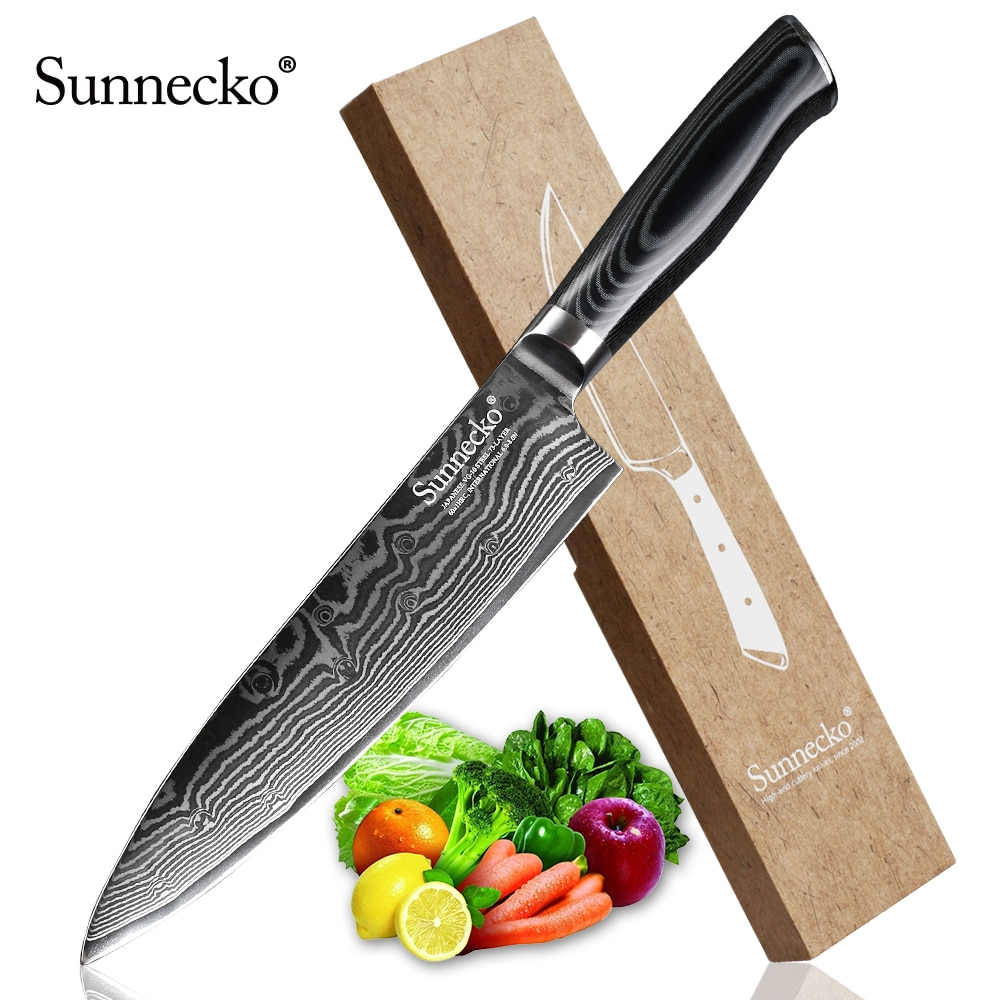 "SUNNECKO 8 ""damaszek Steel Chef nóż japoński VG10 Core Razor ostry nóż noże kuchenne Micarta Wood Handle krajalnica do mięsa Cutter"