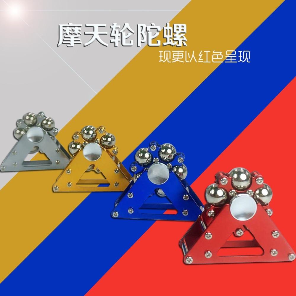 Metal five beads Ferris wheel fingertip gyro stainless steel ball metal belt bracket EDC finger decompression gyroscope enlarge