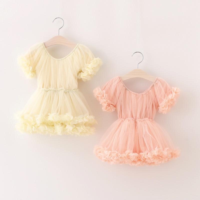 Sweet Girl Summer Dress Lace Petals TUTU Dresses Baby Girl Kids Party Dress Princess Costume