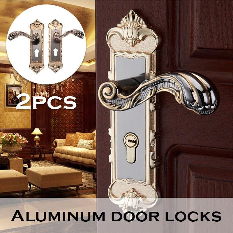 2 uds Vintage cerradura de puerta Retro Puerta del dormitorio manija Interior Anti-robo de la puerta de la habitación cerraduras de manijas herramientas de Hardware
