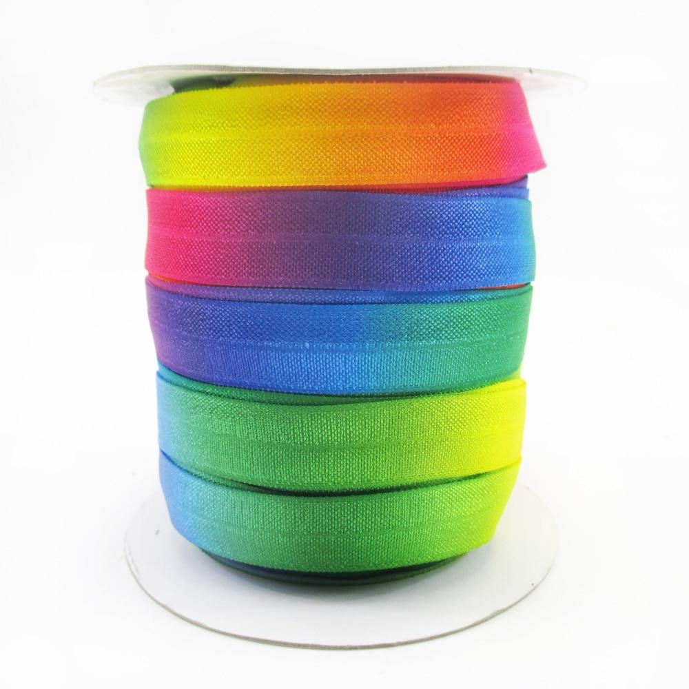 """(5yds por rollo) 5/8 """"16mm gradiente de color arcoiris elástico bies elástico 10 yardas DIY hecho a mano boda papel de regalo... 10Y50155"""