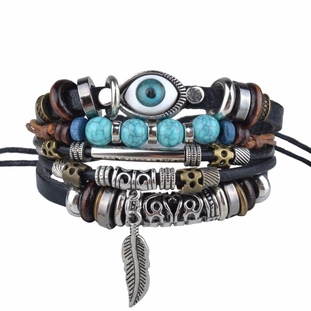 NIUYITID Turkish Eye Bracelets For Men Women Leather Owl Bracelet Male Charm Jewelry Female Braclet Adjustable