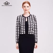 Bella Philosophy 2018 autumn new white black plaid print Coat women jacket cardigan casual thin short coat outwears