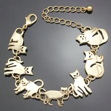 Bastet Cat Kitten Pet Charm Chain Link Bracelets for Women Bangles Gift Party Indian Jewelry Pulseira Feminina Dropshipping