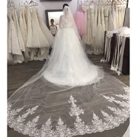 high quality long 4 meters lace wedding veil one layer 4m bridal veil with comb wedding accessories welon