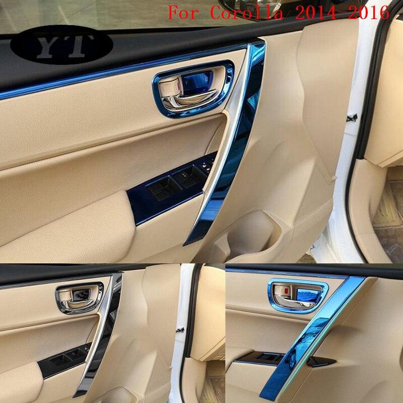 Embellecedor de manija de puerta interior de coche, auris Toyota Corolla moldura para 2014-2018, acero inoxidable, 8 uds, accesorios de coche