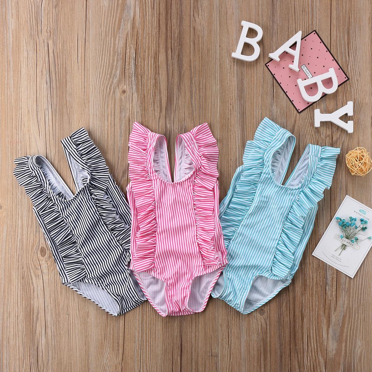 Niño chico bebé niñas traje de baño Bikini conjunto volantes rayas traje de baño traje de bebé recién nacido traje de