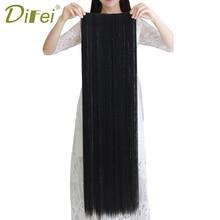 DIFEI largo recto 5 Clips en extensiones de cabello falsas sintéticas de alta temperatura extensiones de pelo de fibra halo extensiones de cabello