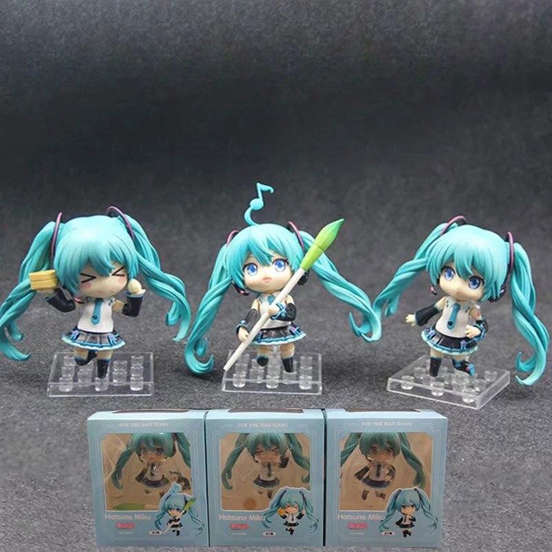 ¡Anime 1/10th escala Hatsune Miku chino Ver! V4 Miku 3 unids/set Mini variante de acción figuras de PVC de juguete 10CM