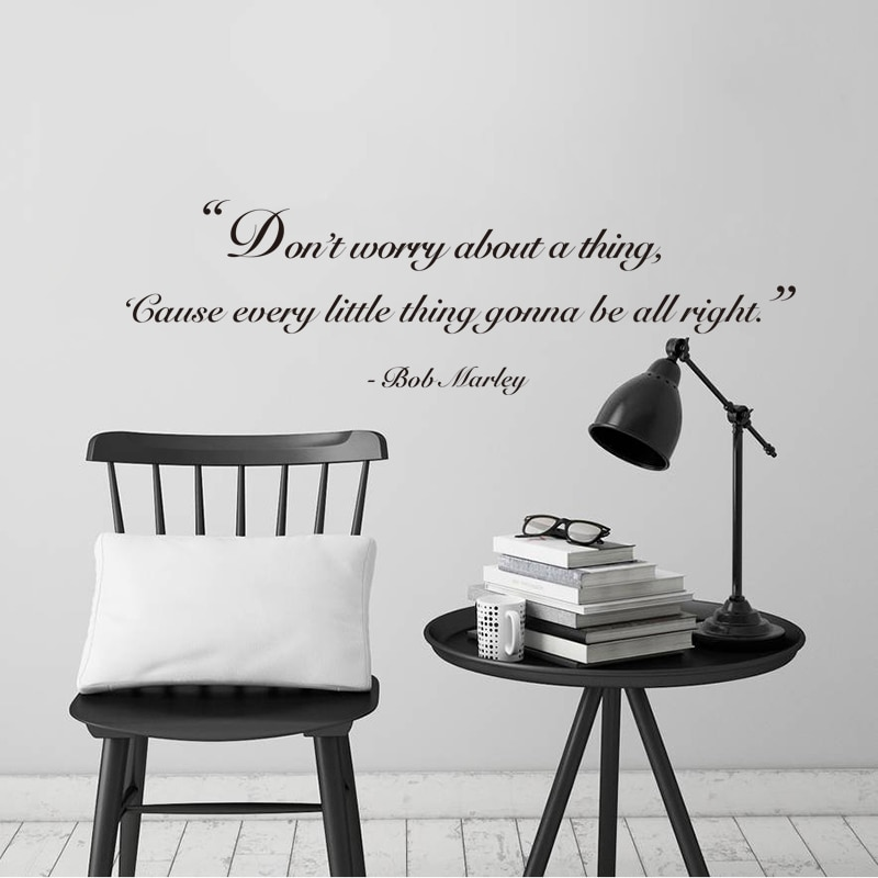 Stickers Don't Worry About A Thing Vinyl Wall Decal Bob Marley's Quote Home Decor Poster Living Room House Decoration
