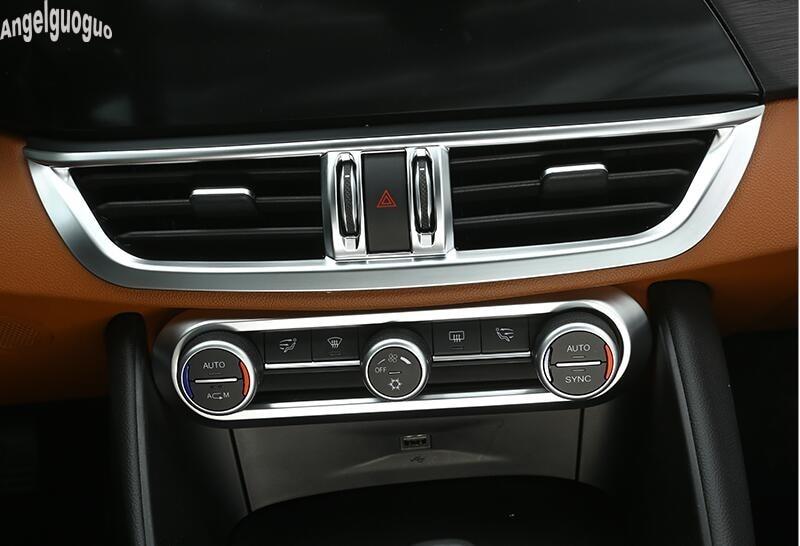 Für Alfa Romeo Giulia Stelvio Zubehör Abs Kohlenstoff Oder Chrom Stil Auto Klimaanlage Knopf Rahmen Trim Aufkleber Auto Styling Style Sticker Styling Carcarbon For Car Aliexpress