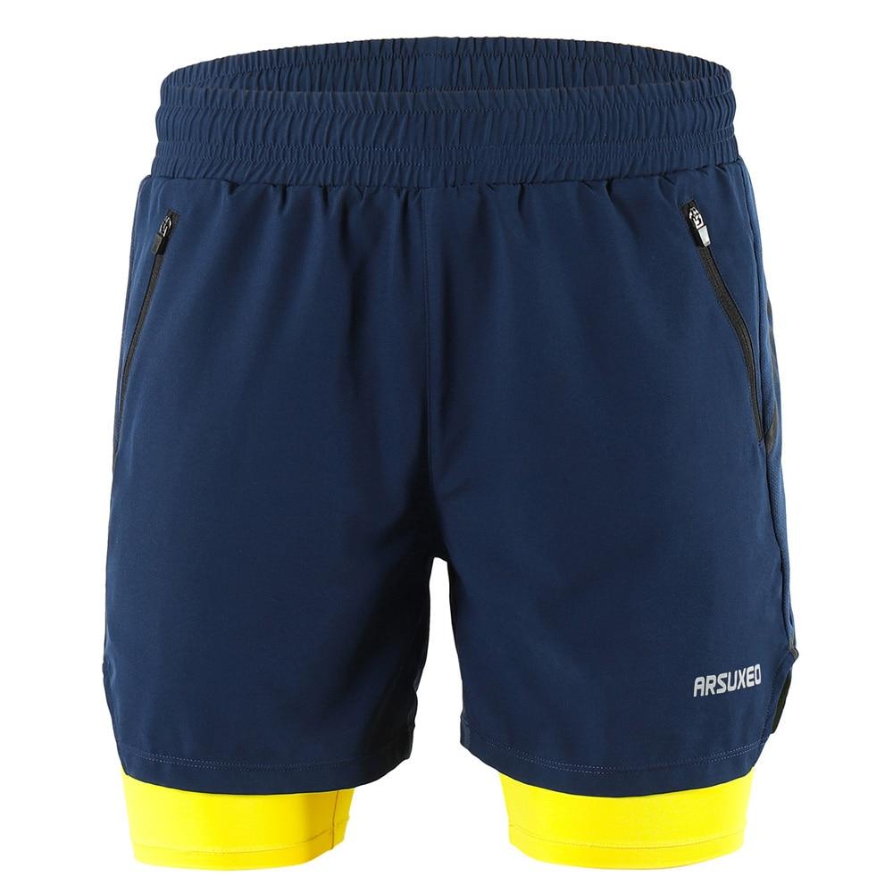 Pantalones cortos de entrenamiento activo transpirable de secado rápido para correr maratón ciclismo hombres 2 en 1 Correr bicicleta de montaña MTB